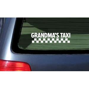 Grandmas Taxi White Vinyl Decal Sticker Automotive