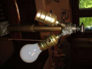 Antique Arts & Crafts Bradley & Hubbard Leaded Slag Stained Glass Lamp