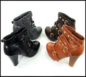 New Fashion Womens Sexy Round Toe Buckle Faux Leather Heel Boots Shoes