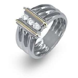 Ladies Two Tone Gold Diamond Ring Jewelry