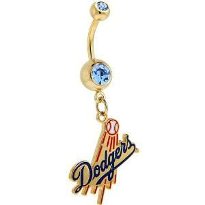 Major League Baseball Logo Gold Gem Belly Ring   Los Angeles Dodgers