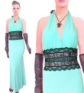 Hot Lady Formal Evening Party Blue Gown Dress S M 21174