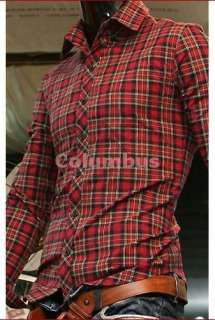 stylish Casual Dress Shirts Slim fit plaid/check Red Cross SH45