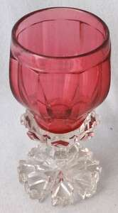 Bohemian cut glass cranberry goblet, 6 1/4 h. CHOICE