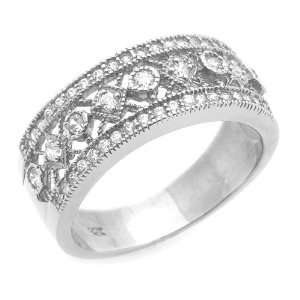 14K Engagement Ring 0.24ctw CZ Cubic Zirconia Filigree Band White Gold