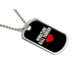 Miniature Bull Terrier Love   Black   Military Dog Tag