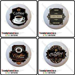 of 4 Coffee Theme Bean Ceramic Knobs Pull Kitchen Drawer Cabinet Bar