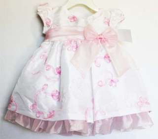 Bonnie Jean Infant Baby Girls White Taffeta Easter Spring Floral Dress