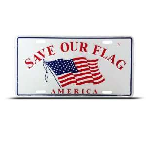 Save Flag American Eagle Metal License Plate Sign Tag