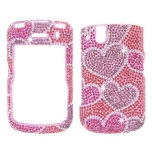 Hearts Crystal Art bling cover faceplate for Blackberry Tour 9630