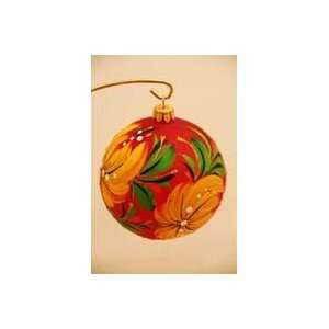 com Christmas Tree Ornaments   Ball Yellow Flower on Red Background