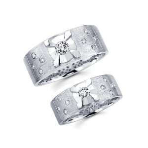 White Gold Round cut Diamond Men & Womens Couple Wedding Ring Band