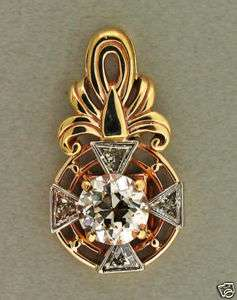 1900 14K OLD EUROPEAN CUT DIAMOND ART DECO TRILLION CUT ACCENT PENDANT