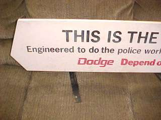 Vintage 1972 Dodge Police car top sign/display/chrysler/mopar/1960s