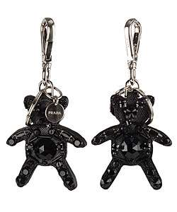 Prada Leather Bear Keychain with Swarovski Crystal