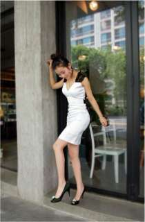 Korean Women V neck Sleeveless Bowkont Evening Party Mini Dress White