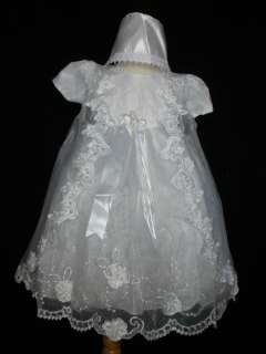 NEW BABY GIRL & TODDLER CHRISTENING BAPTISM DRESS GOWN NEW BORN TO 30