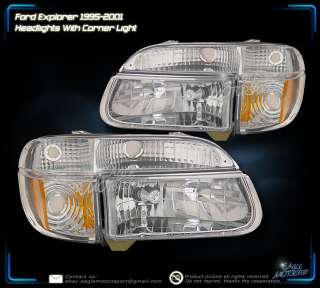 95 01 Ford Explorer/97 Mercury Mountaineer Crystal Chrome Headlights