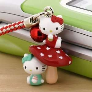 Hello Kitty with Mushroom Cell Phone Strap   Japanese Import *** Free