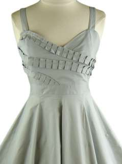 50s Style GREY PINUP Ruffle Bust FULL SWEEP Sun Dress