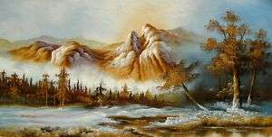 ALASKA RAPID WATERS Hand Signed Original Canvas Oil Painting