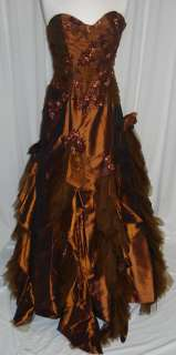 Long Gown Dress Party Gala Prom Pageant Brown 8 NEW