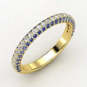 Slim Pave Band, 14K Yellow Gold Ring with Diamond & Sapphire Jewelry