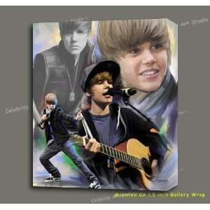 JUSTIN BIEBER ORG MIXED MEDIA PAINTING W GICLEE, OIL, & ACRYLIC W 1.5