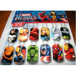 Marvel Avengers and Super Heros Figure Dog Tag Set of 15
