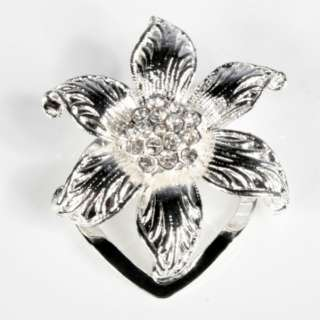 Ladies Silver Diamante Crystal Flower Brooch Scarf Clip