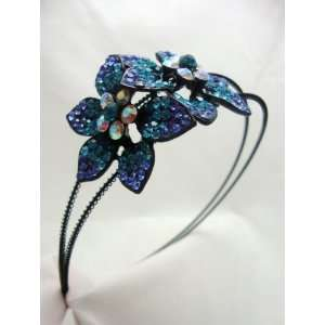 Large Blue Flower Crystal Headband