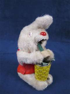 Vintage Mechanical Rabbit Tin Litho WindUp Toy Japan