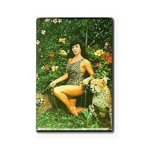 Fridgedoor   Betty Page with Leopards Magnet Automotive