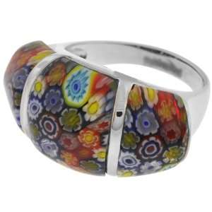 Womens Murano Glass Three Piece 316L Stainless Steel Ring Jewelry