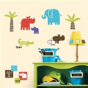 SAFARI ANIMALS WALL DECALS Jungle Stickers Kids Baby Nursery Decor
