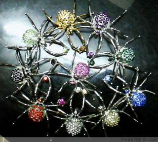 NEW Lots 10Pcs Mixed Spider Crystal Rhinestone Brooches