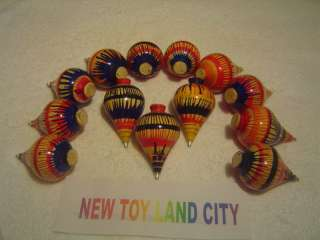 10 New Wood Spinning Top { NEW TOY LAND CITY STORE }
