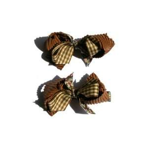 One Pair of Ribbon Mix Bow Baby Girl & Toddler Hair Clip (Brown) Baby