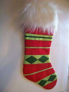 RED GREEN SILK WHITE FUR CHRISTMAS STOCKING DECORATION
