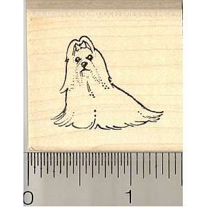 Small Maltese Dog Rubber Stamp   Wood Mounted Arts