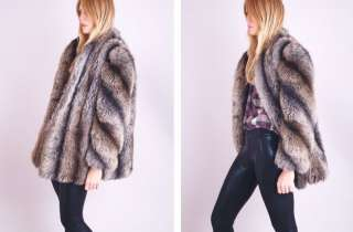 1970s 80s Vintage CRYSTAL FOX FAUX FUR SWIRL COAT JACKET OVERSIZED