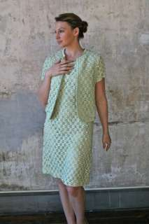 Vintage 1950s Spring Green Ribbon Lattice 2 Pc Shift Dress / Jacket
