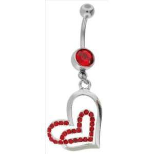 Ruby Red   CHERIE Gem Heart Dangle Belly Button Ring Jewelry