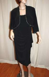 ALEX EVENINGS CLASSY BLACK 2 PIECE RHINESTONE TRIM DRESS & JACKET, 20W