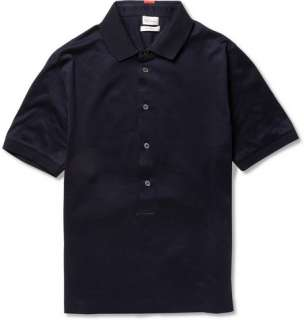 Polos  Short sleeve polos  Long Placket Cotton Jersey Polo Shirt