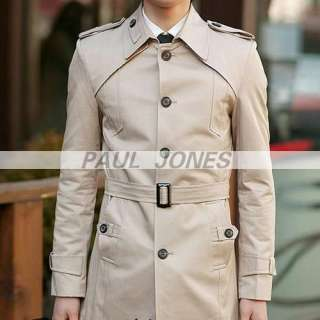 HOT P&J Mens Slim Fit Casual Long Jacket Coat Outwear