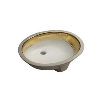 KOHLER Caxton Undercounter Bathroom Sink in White and Polished Gold K