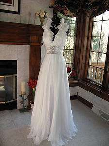 Mac Duggal 81469P White Silk Chiffon Pageant Gown Dress 6