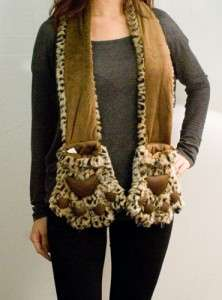 NEW PLUSH ANIMAL SCARF WRAP W/ LONG POCKET STUFFED PAW CLAWS BEIGE