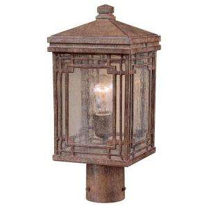 Hampton Bay Larkin Street Post Mount 1 Light Outdoor Vintage Rust